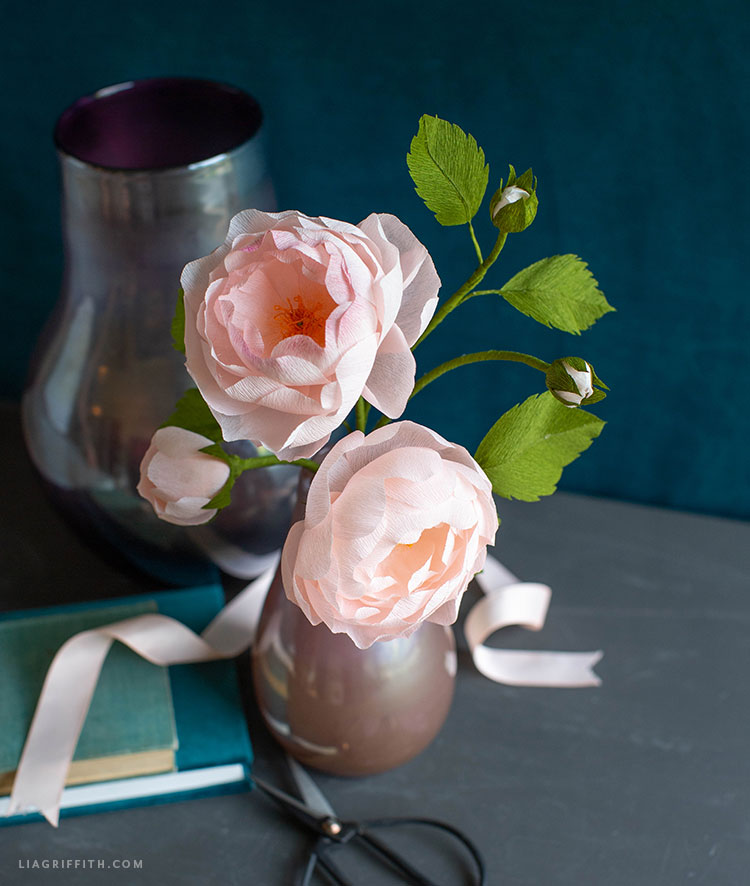 Scarborough Fair roses made out of crepe paper in vase