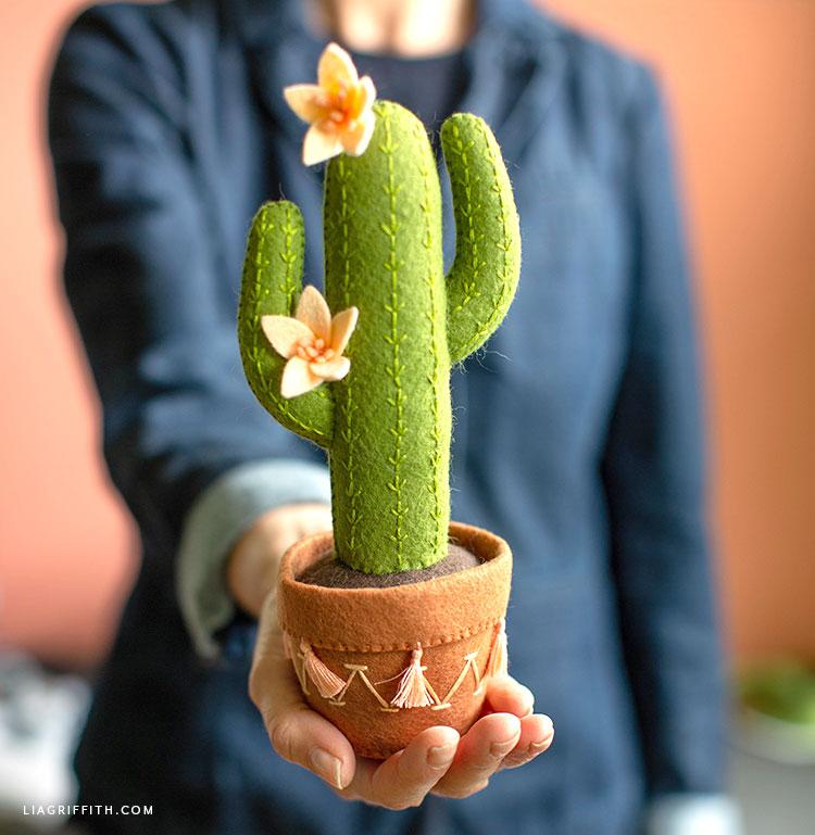 person holding felt saguaro cactus
