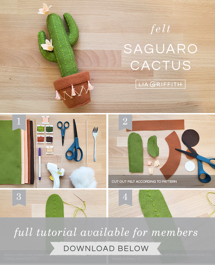 DIY step by step photo tutorial for felt saguaro cactus by Lia Griffith