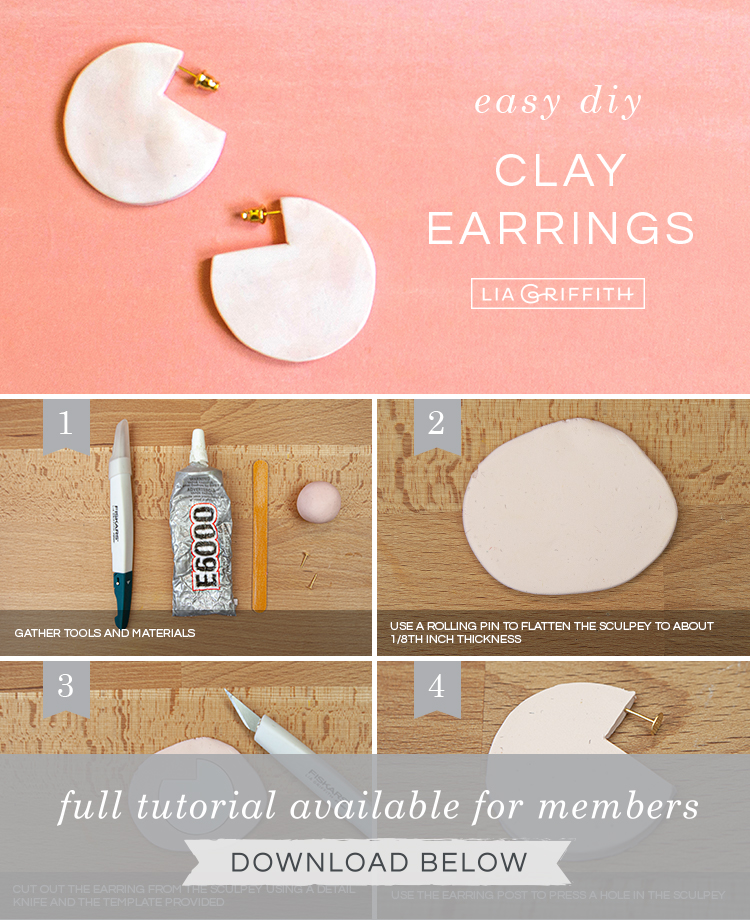 DIY photo tutorial for geometric clay earrings by Lia Griffith