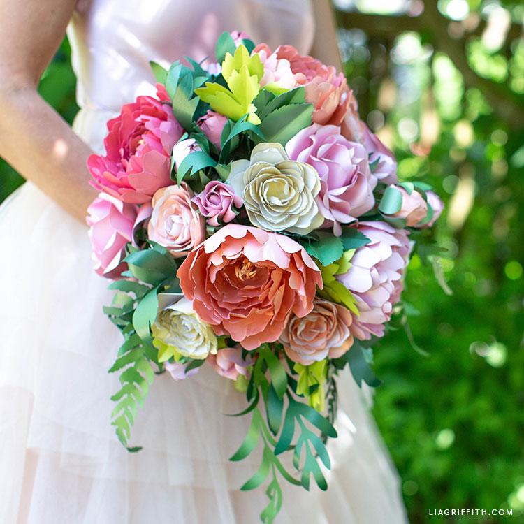 paper flower vintage garden bridal bouquet