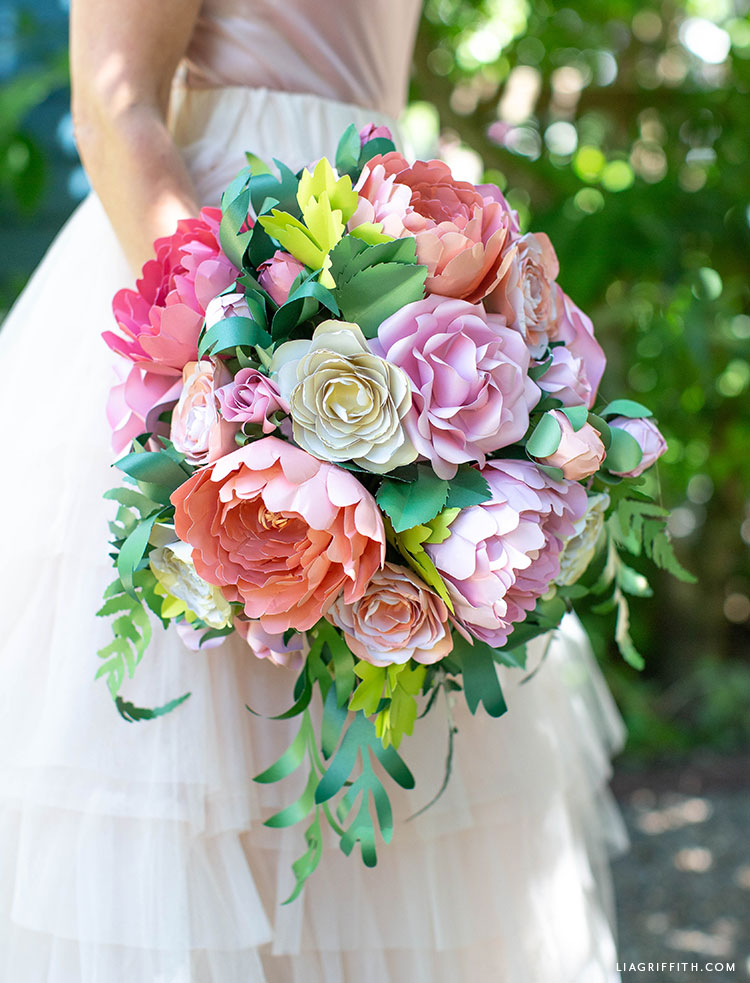 frosted paper flower garden wedding bouquet