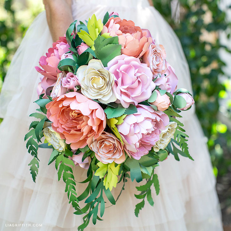 DIY paper flower bouquet with handmade roses, peonies, ranunculi, and greenery