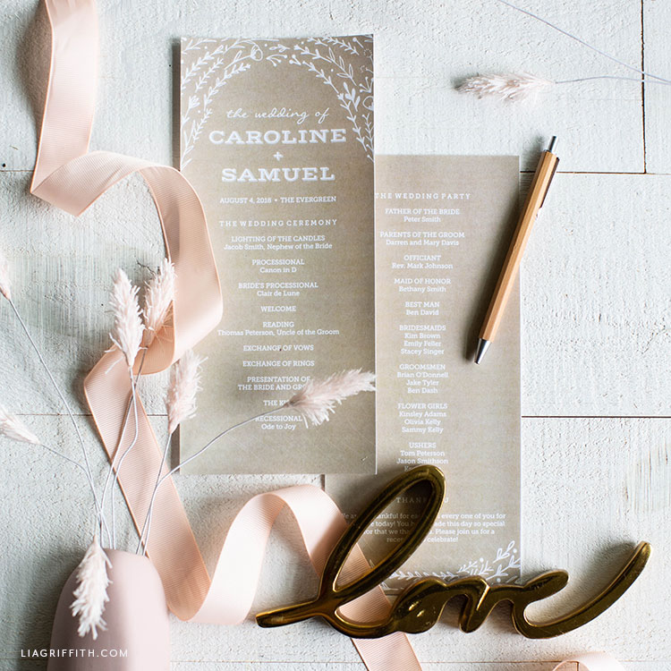 printable rustic wedding programs