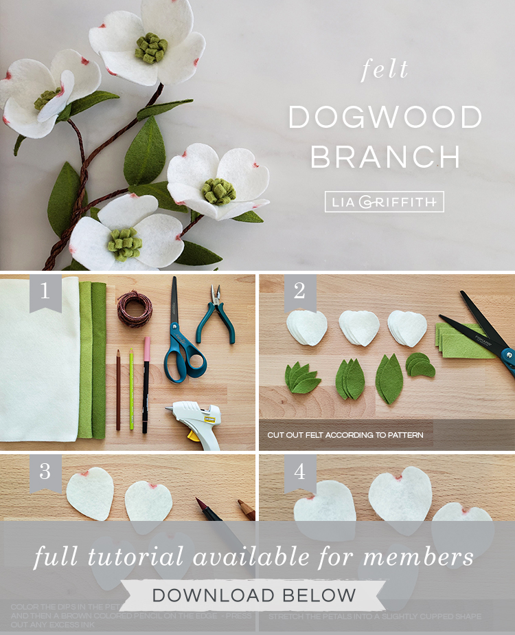 DIY step by step photo tutorial for felt dogwood branches by Lia Griffith