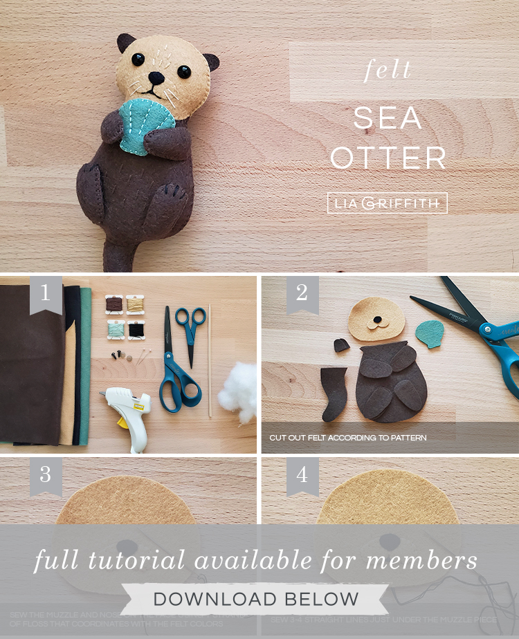DIY step by step photo tutorial for felt sea otter stuffie by Lia Griffith