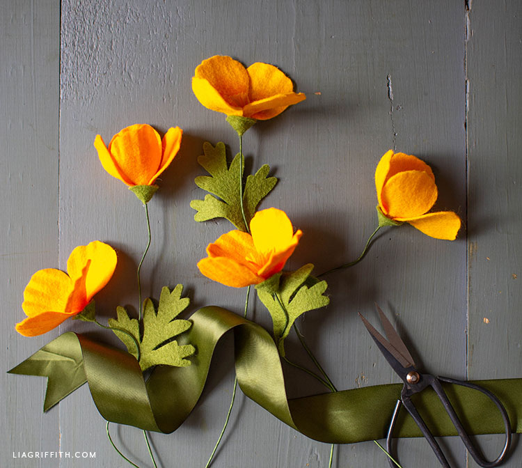 handmade felt California poppies