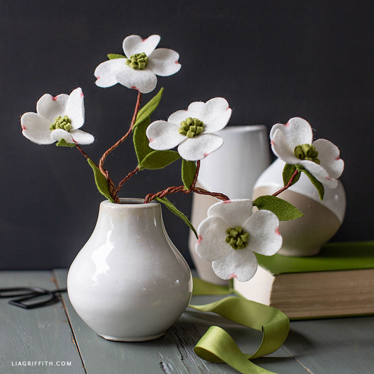 DIY felt dogwood branches