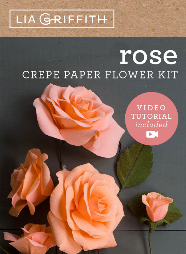 crepe paper rose flower kit by Lia Griffith