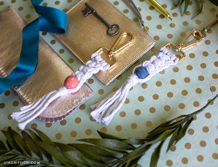 handmade macrame key chains with wooden beads