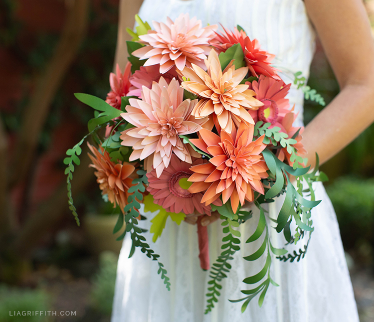bridal bouquet with paper dahlias and daisies