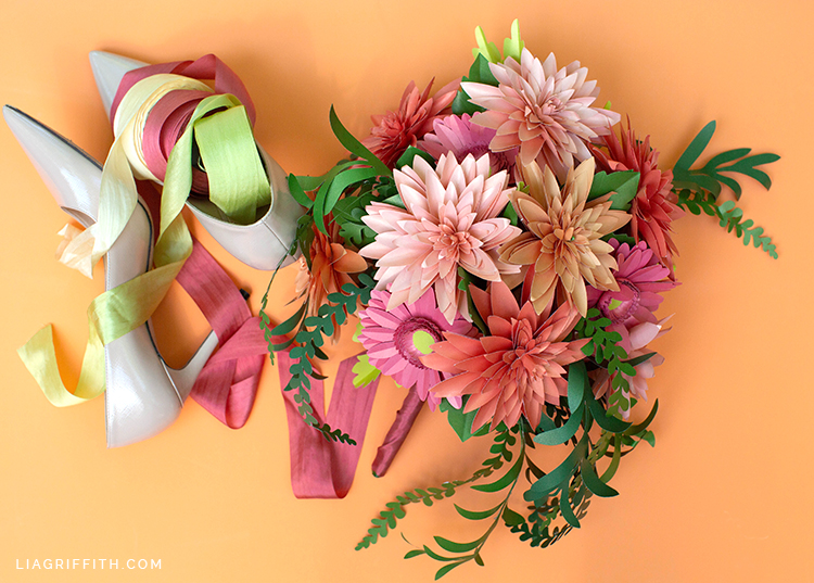paper daisy and dahlia bouquet