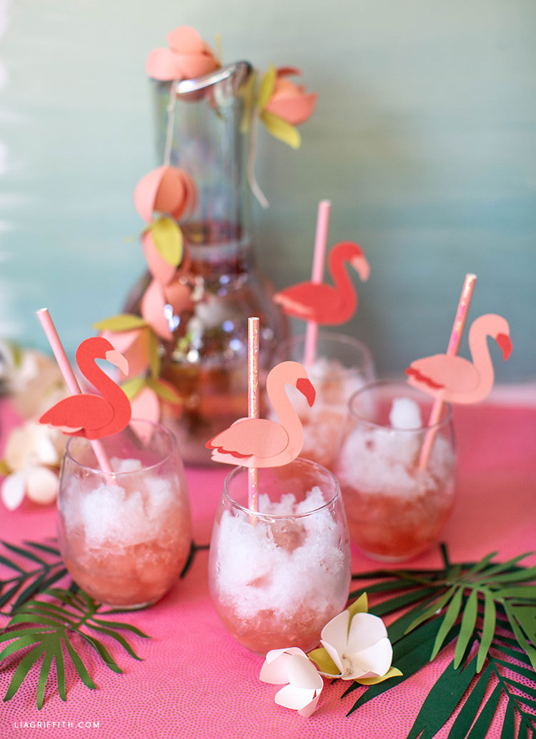 paper flamingo straw toppers