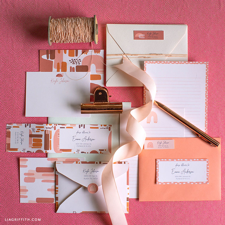 Free Printable Note Cards, Address Labels, & Envelopes - Lia