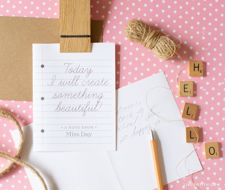 """Today I will create something beautiful"" printable notecard"