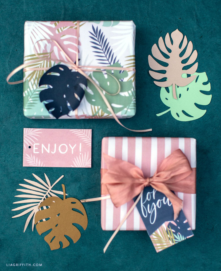 tropical wrapping paper and gift tags