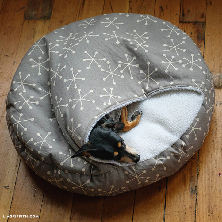 DIY burrow dog bed