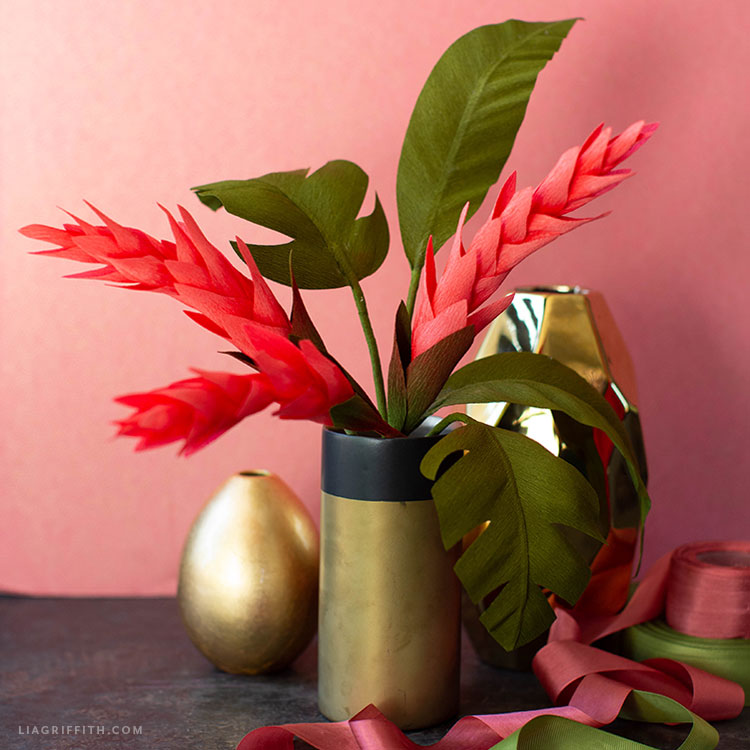 crepe paper ginger flower and tropical leaves