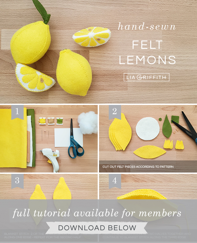 DIY photo tutorial for handsewn felt lemons by Lia Griffith