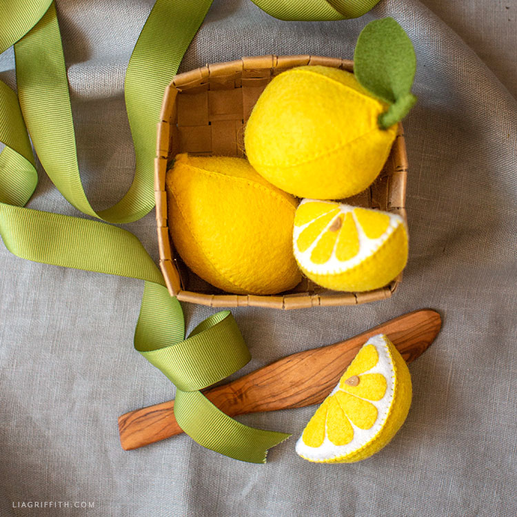 felt lemons in upcycled basket