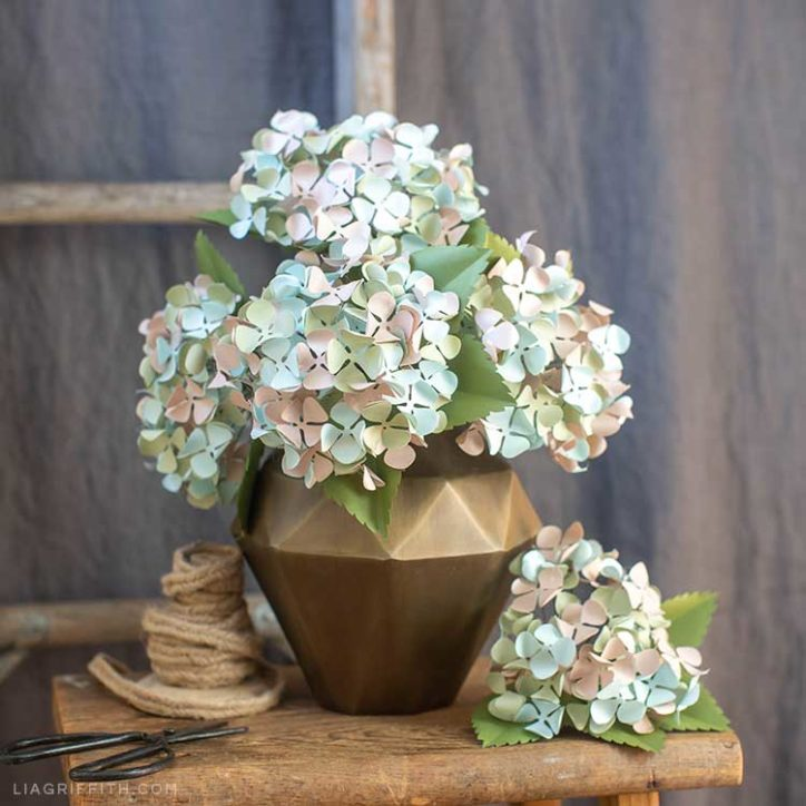 frosted paper hydrangeas