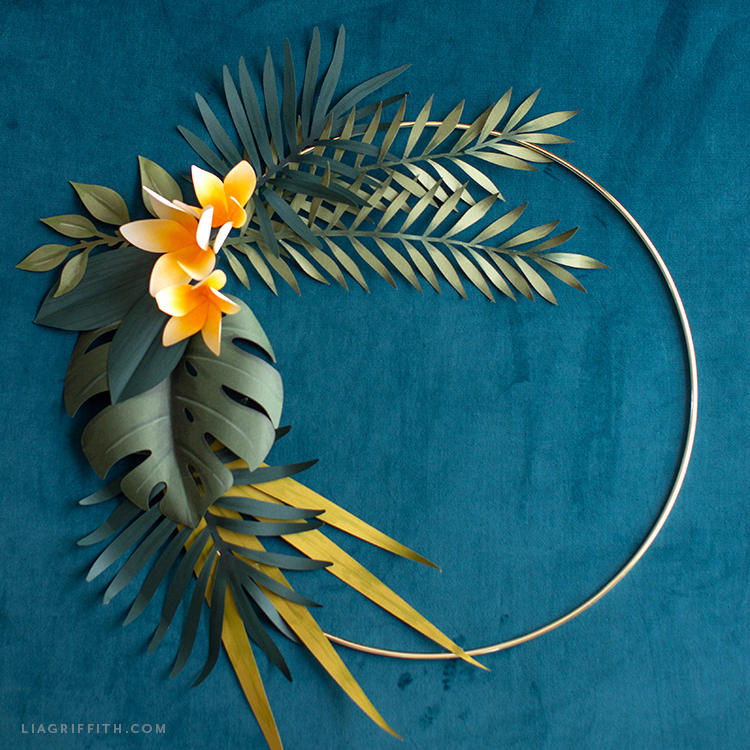 DIY tropical wreath with frosted paper plumerias