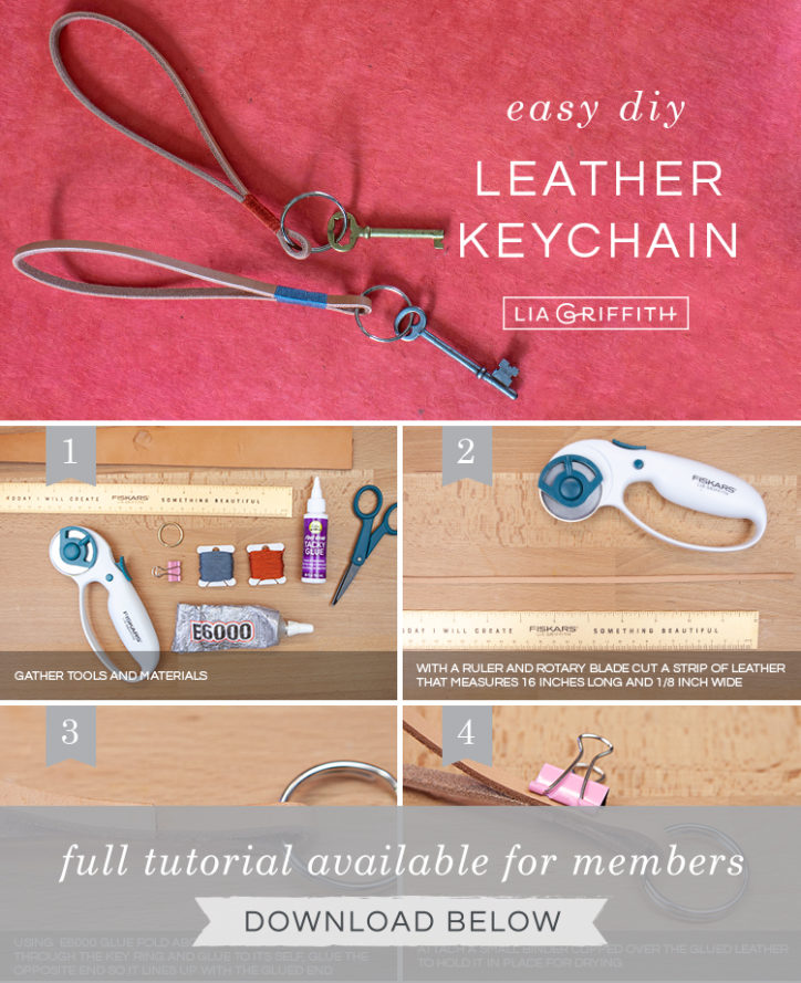 DIY photo tutorial for leather loop keychains by Lia Griffith