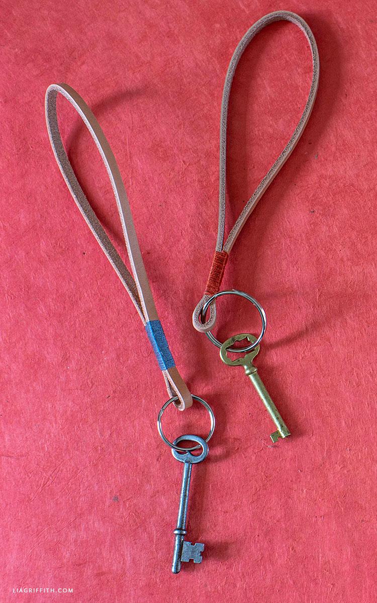 DIY leather loop keychains