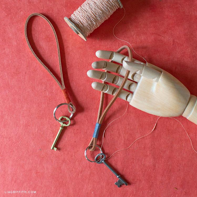 handmade leather loop keychains