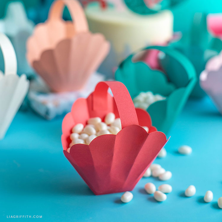 papercut seashell treat basket