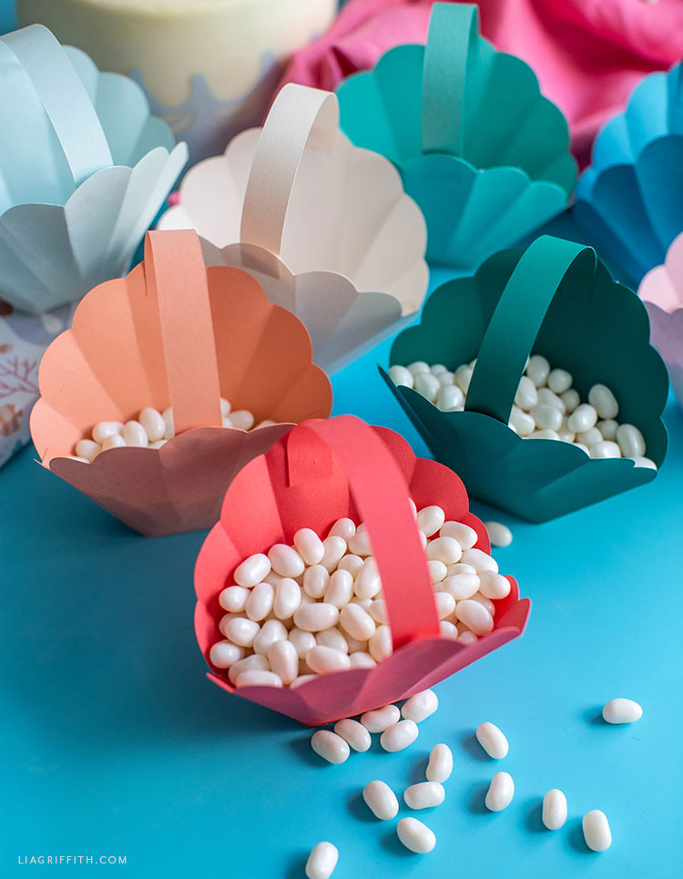 paper seashell treat baskets with candy