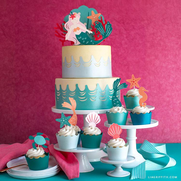 papercut mermaid cake decor