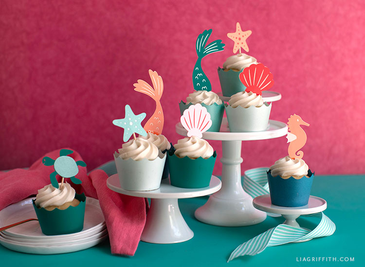 DIY mermaid cupcake toppers and wrappers
