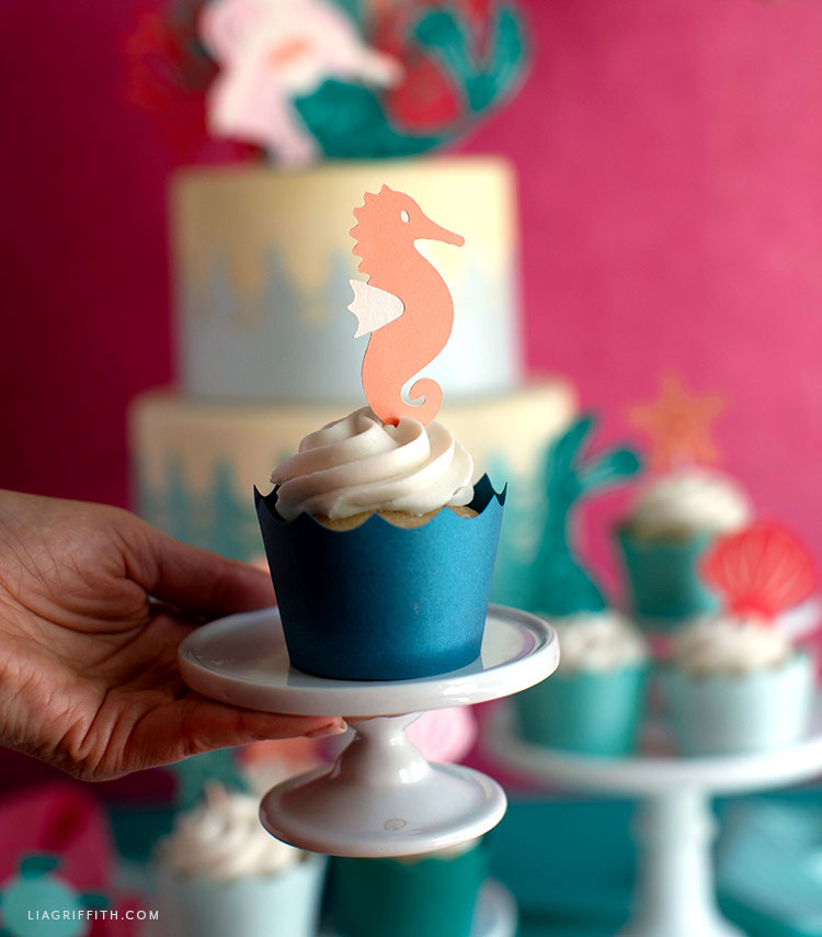 papercut seahorse cupcake topper and waves wrapper