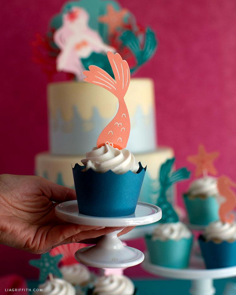 papercut mermaid tail cupcake topper