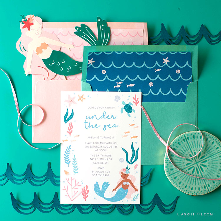 graphic regarding Printable Party Invitations identify Printable Mermaid Get together Invites Envelope Liners - Lia