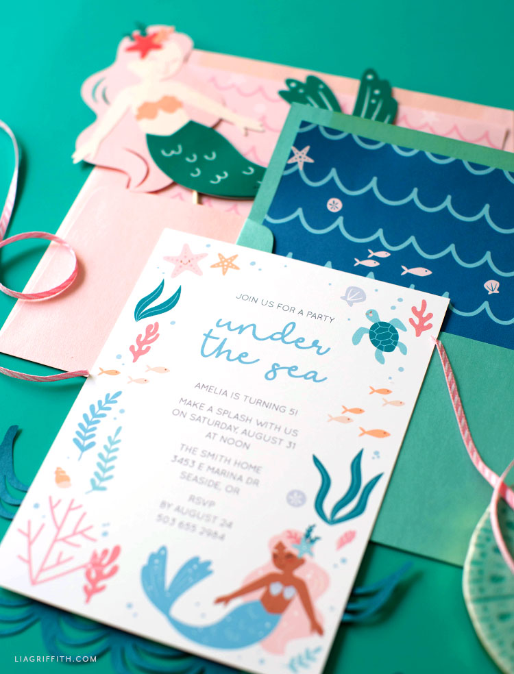Printable Mermaid Party Invitations Envelope Liners Lia