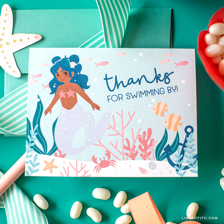 mermaid party printable thank-you card