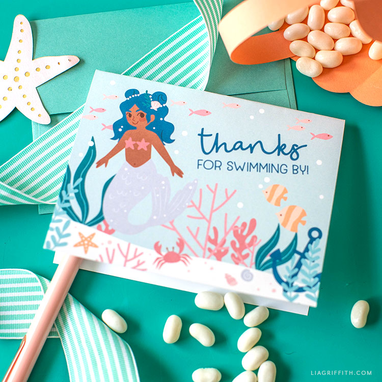 mermaid party thank-you cards