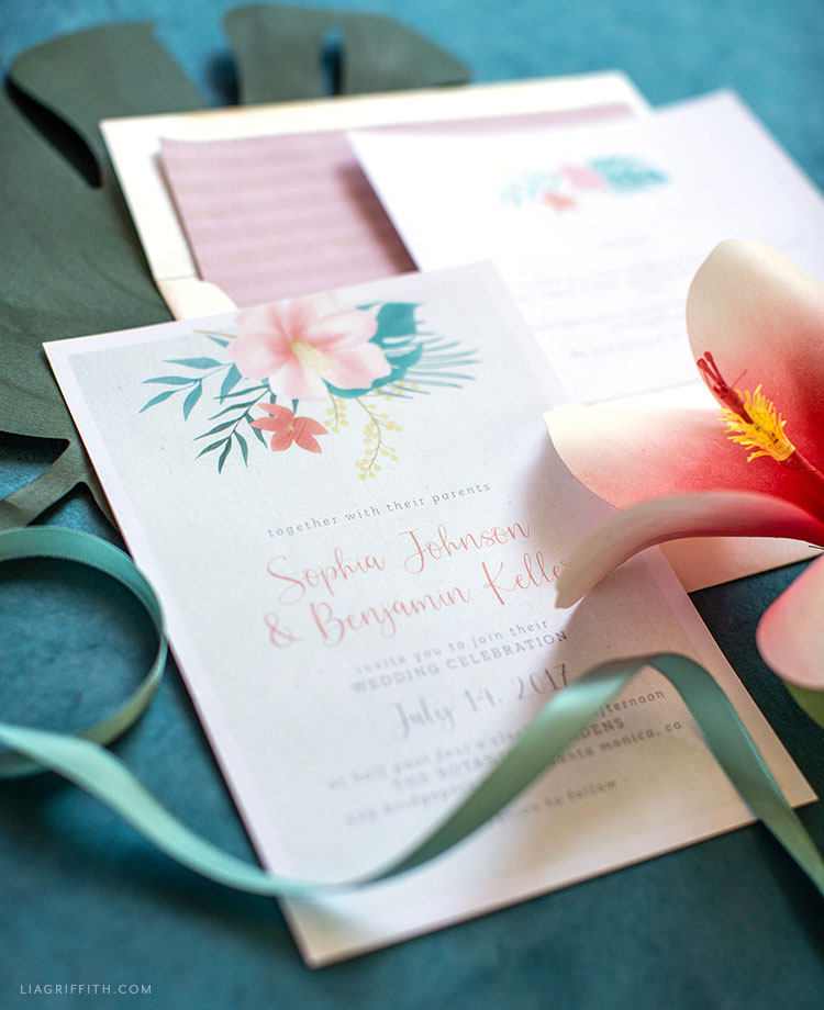 tropical hibiscus flower wedding invitations