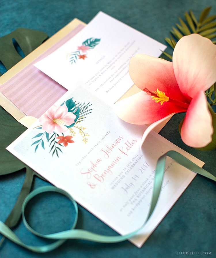 tropical hibiscus flower wedding invitation with detail card and envelope