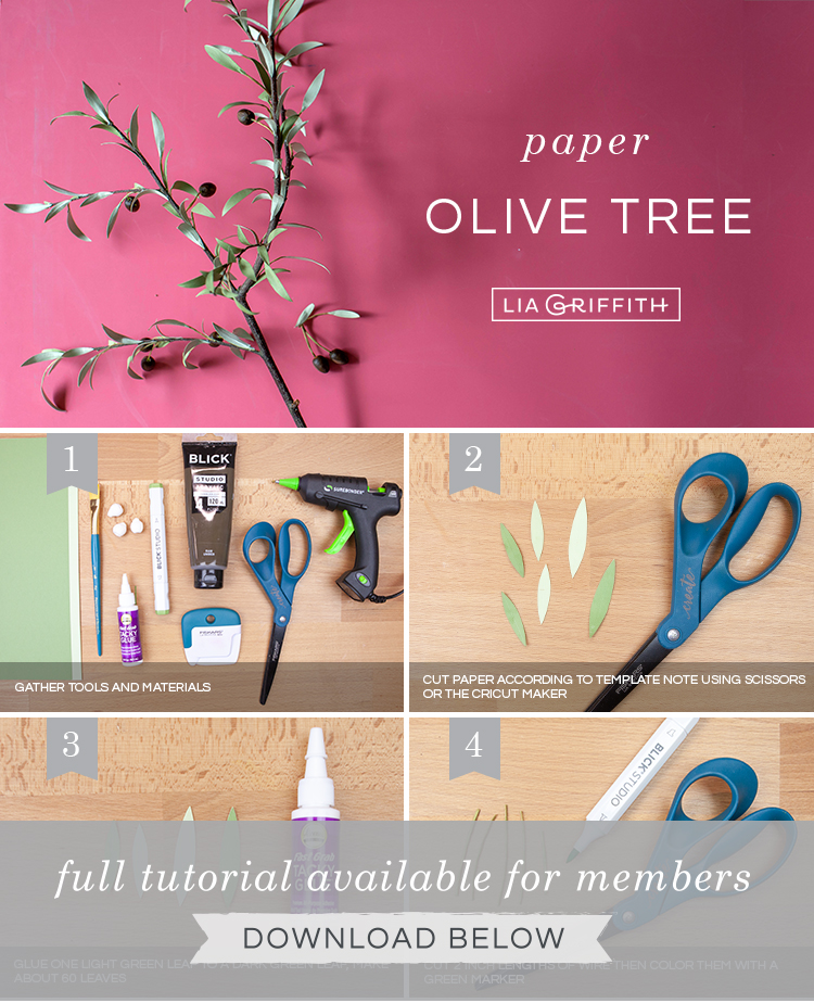 DIY photo tutorial for paper olive tree by Lia Griffith