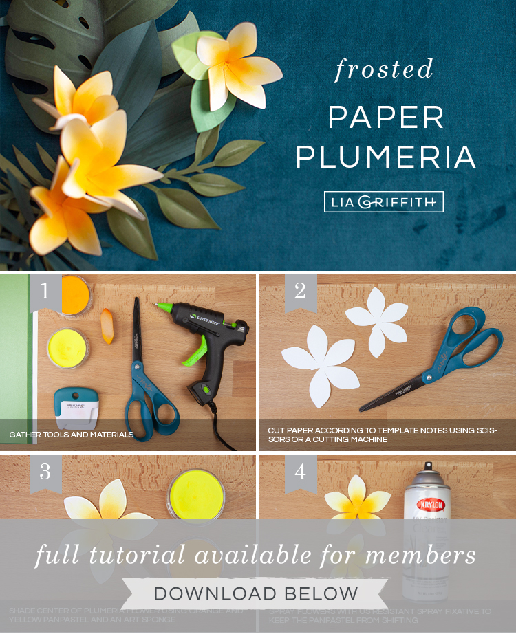 DIY photo tutorial for frosted paper plumeria flowers by Lia Griffith