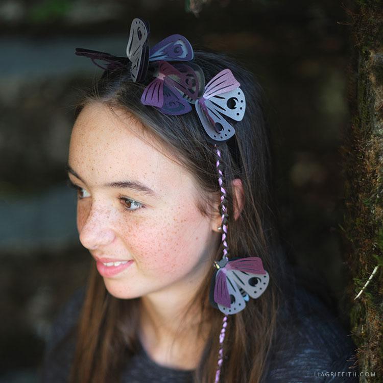 handmade papercut moth headband