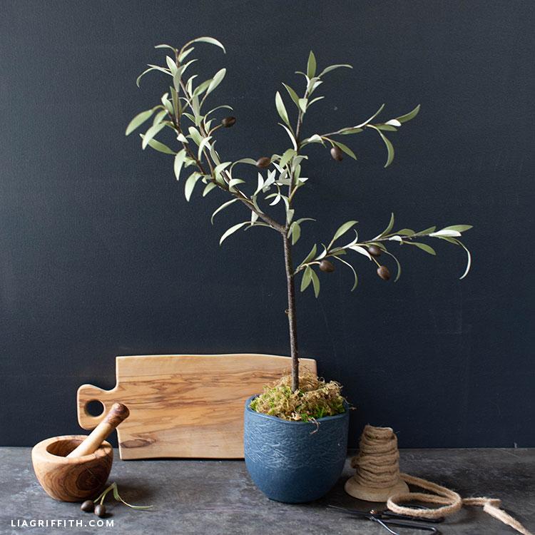 DIY paper olive tree