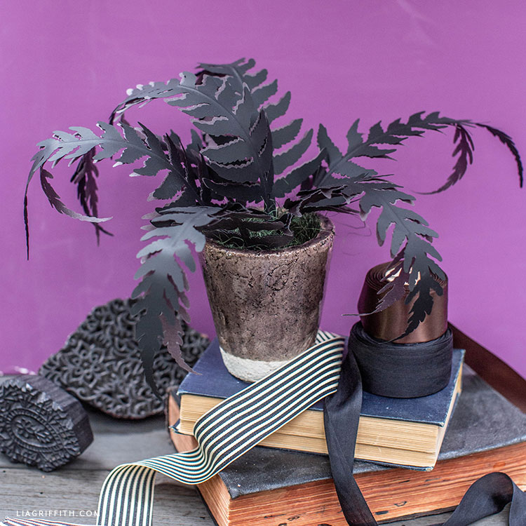 potted black paper fern for Halloween display