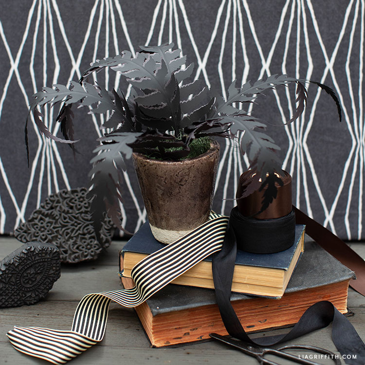 black paper fern for Halloween mantel