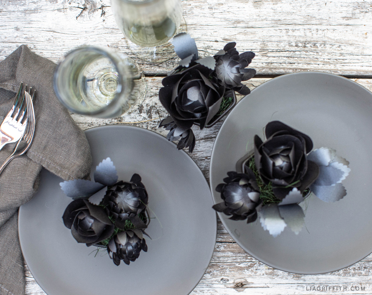 black paper succulents for Halloween table