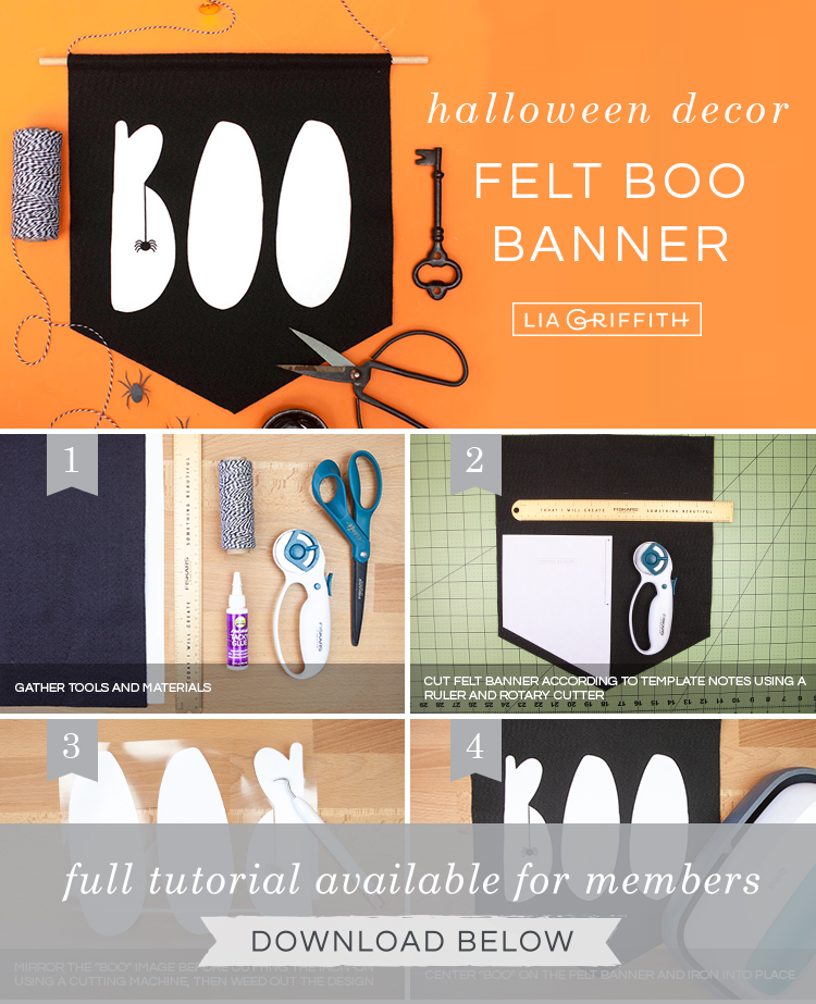 DIY photo tutorial for felt Halloween banner by Lia Griffith