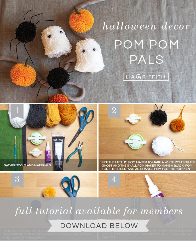 Photo tutorial for pom-pom Halloween decor by Lia Griffith